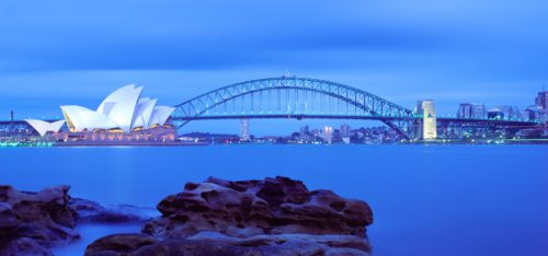 Australia  Sydney Opera House Harbour Bridge Dusk