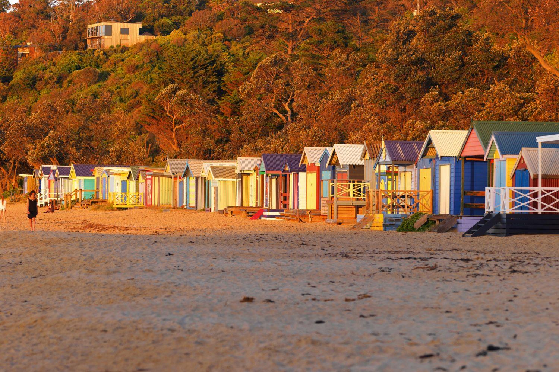 Gekleurde huisjes op het strand van Mornington Peninsula