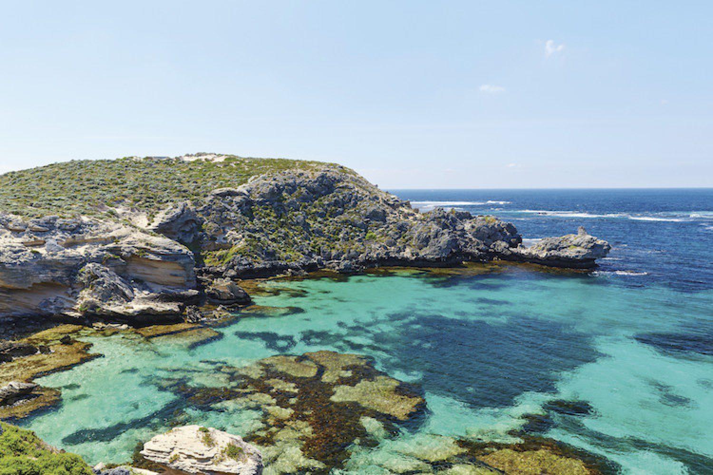 Geordie Bay auf Rottnest Island. Die Insel ist ein beliebtes Ausflugsziel für Perth Besucher.