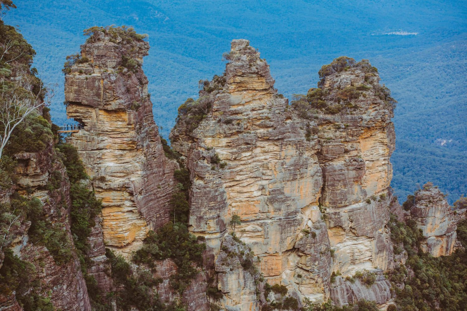 Australien Blue Mountains die Felsformation Three Sisters aus der Luft