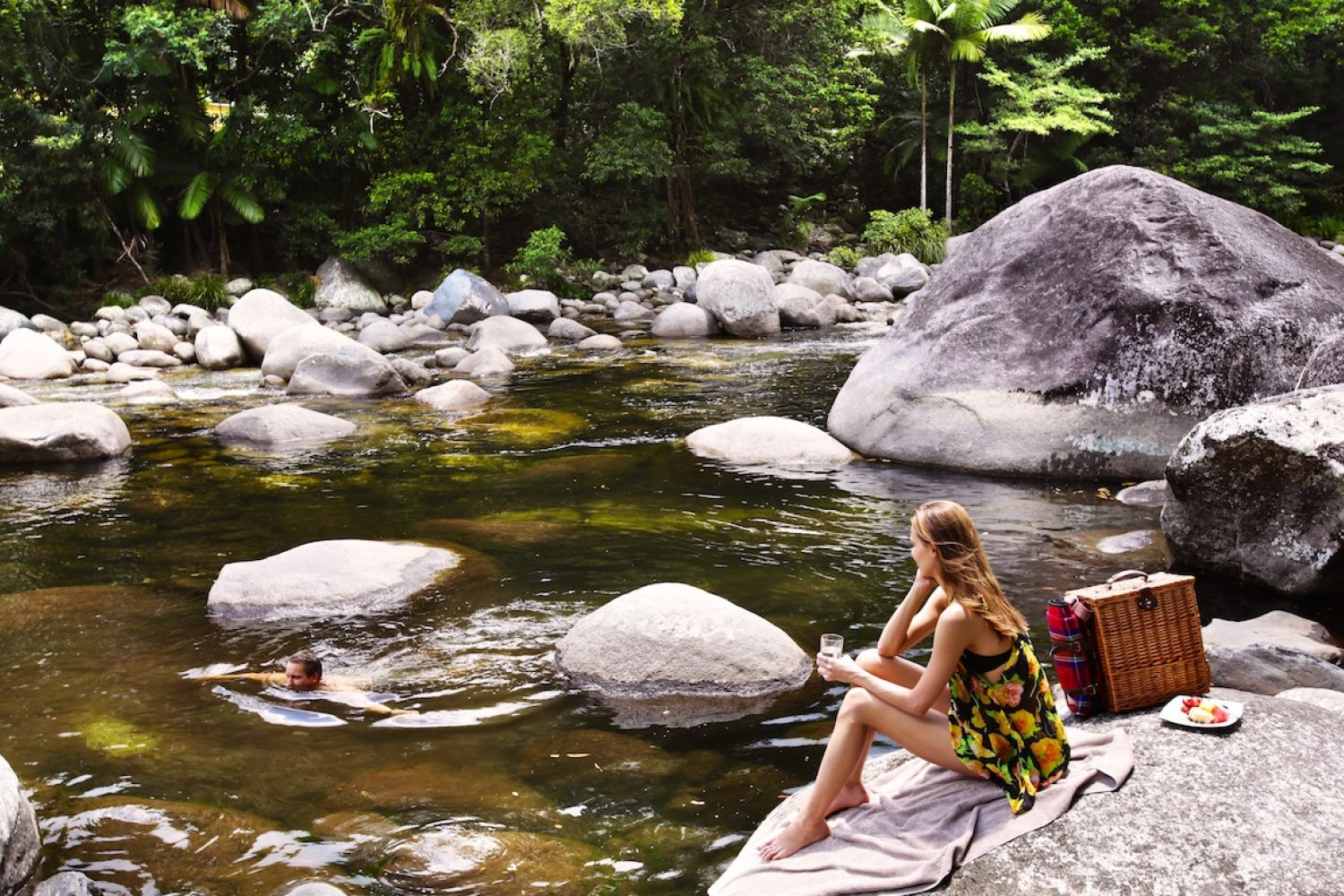 Picknick am Mossman Gorge River