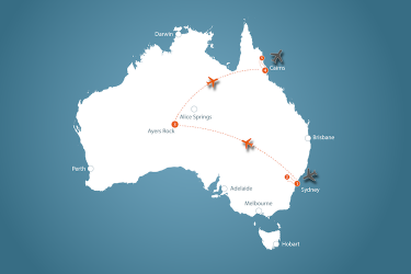 3 Weekse Luxe Reis Door Sydney De Outback En Tropical North Queensland Map Jpeg