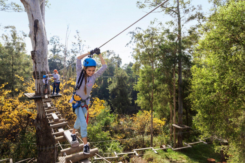 In Yarramundi, zwischen den Blue Mountains und Downtown Sydney, gibt es einen tollen Klettergarten für Groß und Klein, den Sie unbedingt besuchen sollten.