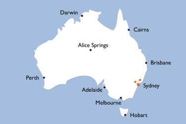Karte Sydney Blue Mountains Hunter Valley