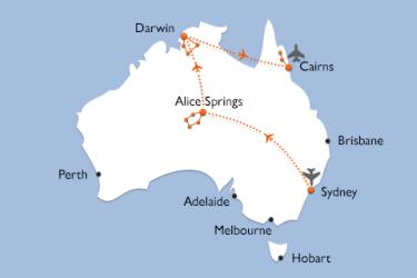 Karte Australien Abenteuer Rundreise