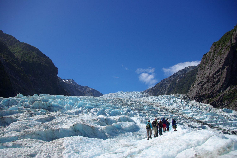 Wandern entlang des Franz Josef Gletschers